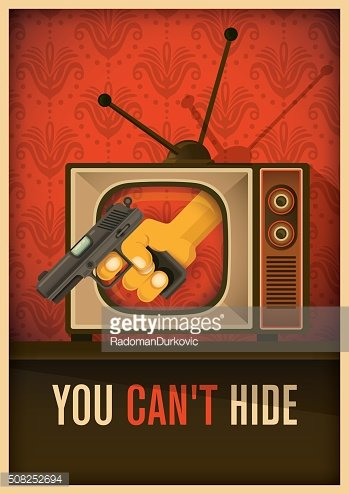 Conceptual illustration with tv and gun.