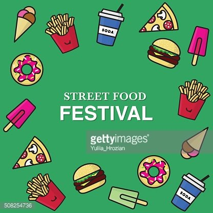 Street food festival poster with junk food icons.