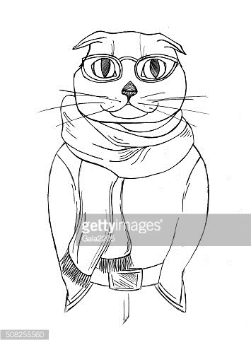 cat glasses and a scarf.fashion anthropomorphic character of cat