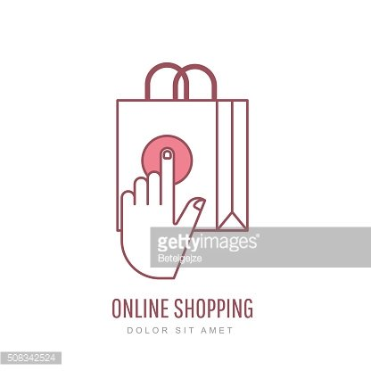 Online shopping and e-commerce linear style illustration.