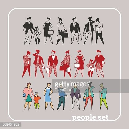 Flat style people with bags in casual clothes. Vector Set.