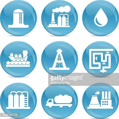 oil and gas transport and store related blue icons