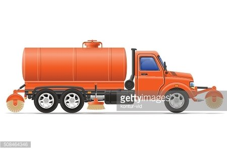 cargo truck cleaning and watering the road vector illustration