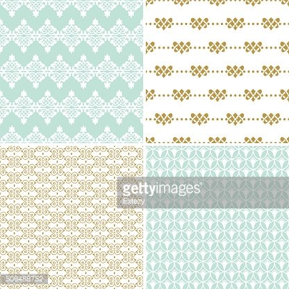 Seamless vintage floral background gold and pastel pattern