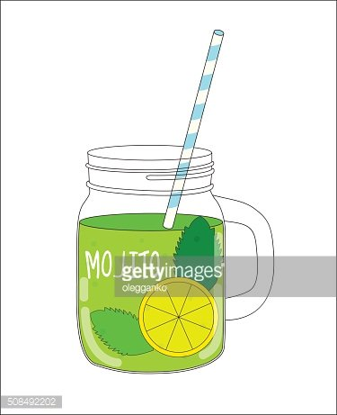 Fresh Mojito with Lemon and Mint. Vector Illustration