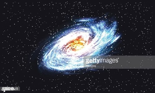 Spiral Galaxy on Cosmic Background. Vector illustration for your artwork