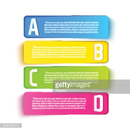 Multicolored paper cut banners with ABCD letters. Vector template for