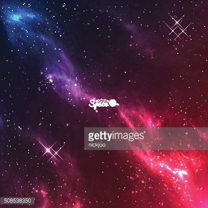 Vector space galaxy background. Colourful violet-red nebulae with bright