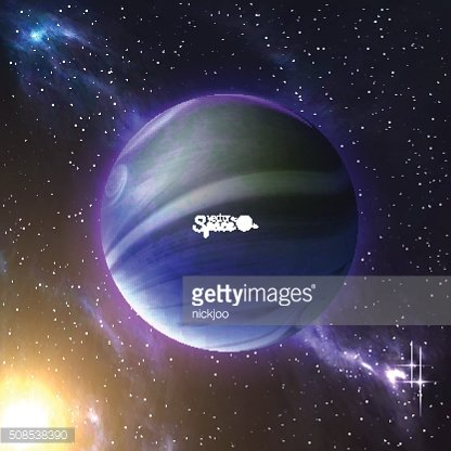 Earth-like planet and the sun behind on space background