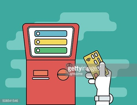Human hand with credit card getting access to payment terminal