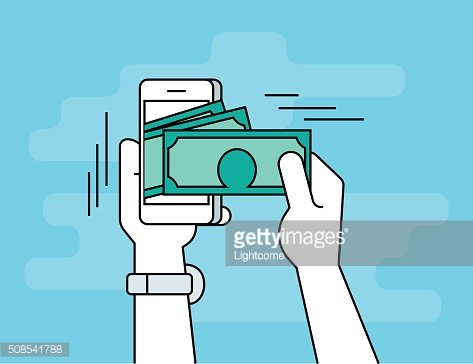 Mobile banking flat line contour illustration of human hand withdraws