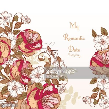 Vector background with hand roses flowers in engraved vintage st