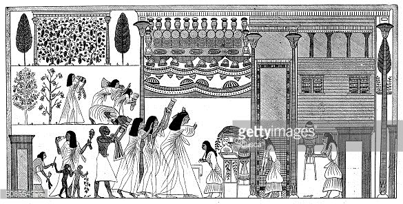 Antique illustration of ancient Egyptian house
