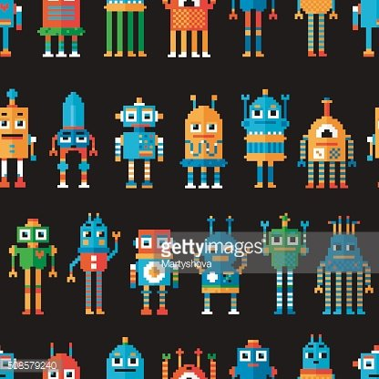 Seamless pattern with pixel robots.