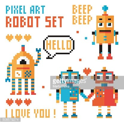Set of pixel robots, words, hearts.