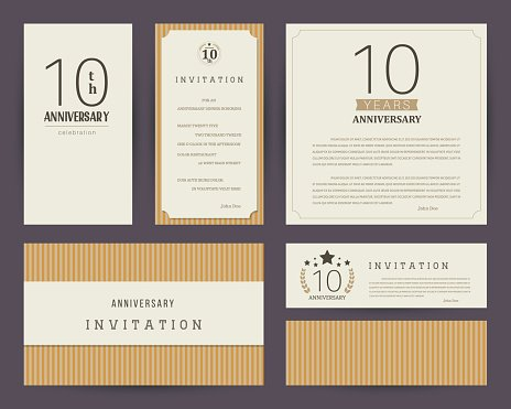 10th anniversary invitation cards template with vintage vector 10th anniversary invitation cards template with logos vintage vector illustration stopboris Image collections