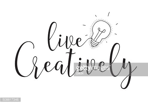 Live creatively inscription. Greeting card with calligraphy. Hand drawn design