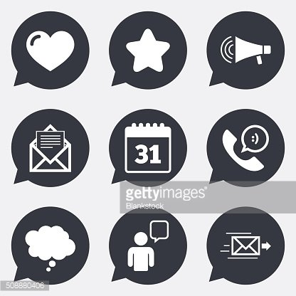 Mail, contact icons. Communication signs.