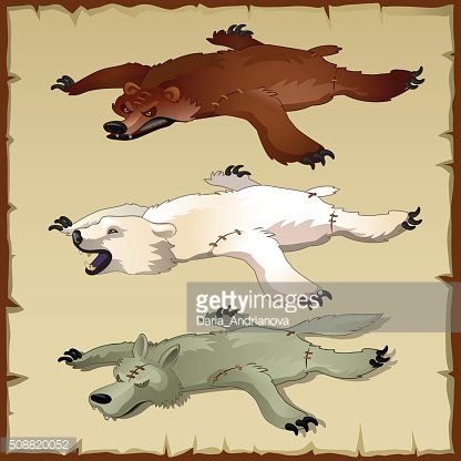 Skins set of forest animals, bears and wolf