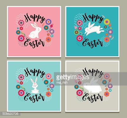 Easter design with cute banny greeting cards, invitations