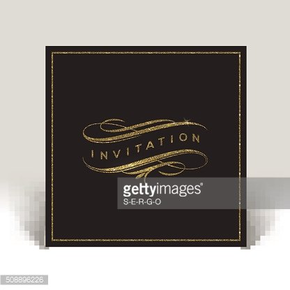 Template invitation with glitter gold flourishes elements