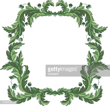 Victorian style vintage vector frame border with oak leaves, acorns