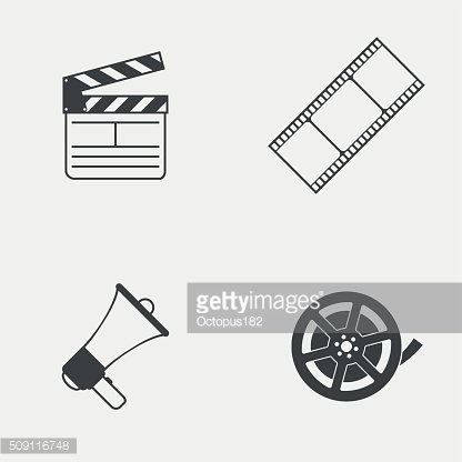 Set of movie monochrome vector icons