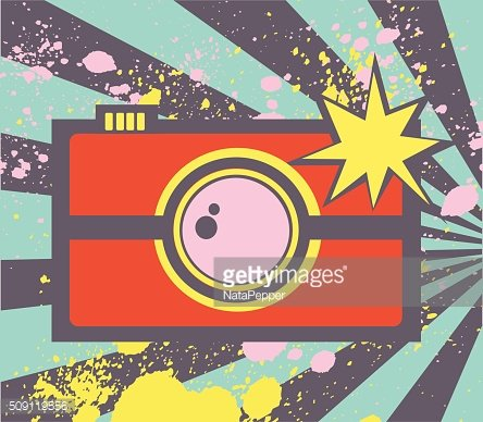 Pop art illustration with abstract photocamera