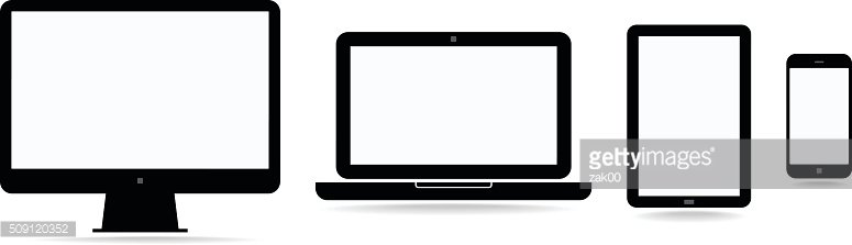 Electronic devices with blank screens - Illustration
