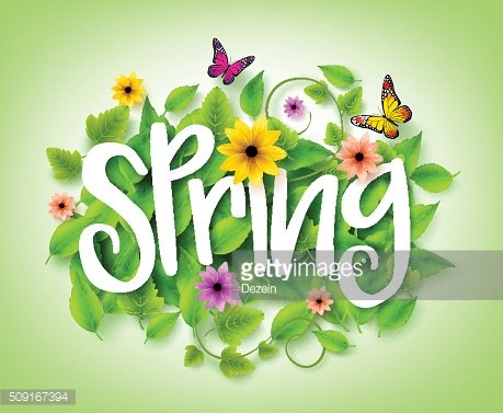 Spring Title with Vector Leaves in the Background with Flowers