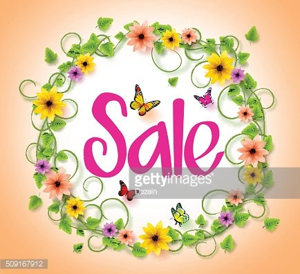 Spring Sale in a Circle Wreath of Colorful Flowers