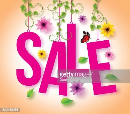 Spring Sale Hanging with 3D Realistic Colorful Flowers