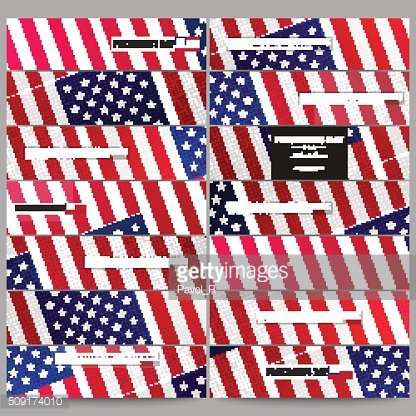 Set of modern banners. Presidents day background with american flag