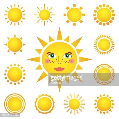 Vector set of different suns isolated on white background