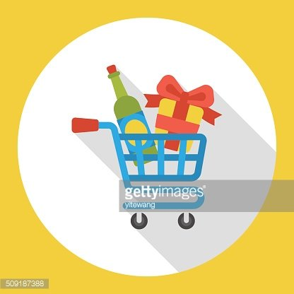 shopping cart gifts and champagnes flat icon
