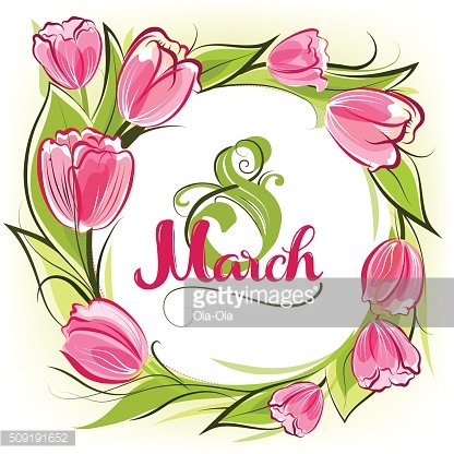Tulips March greeting card