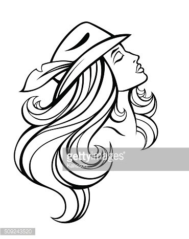 Vector portrait of fashion girl with long hair in hat.