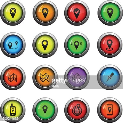 Pointer and maps icons set