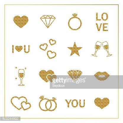 Valentine's day golden glitter design elements set.