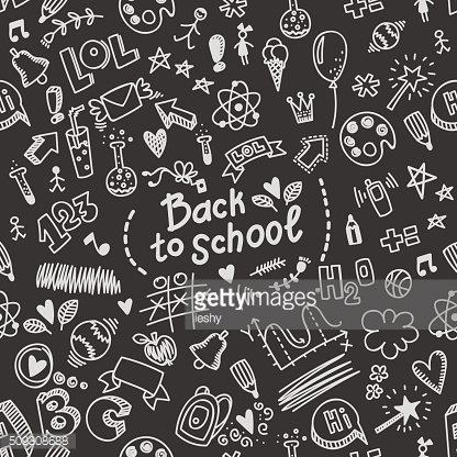 Vector seamless hand drawn doodle pattern back to school.