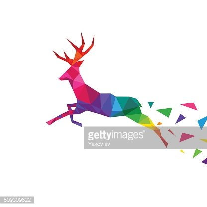 Deer abstract triangle isolated on a white backgrounds, vector illustration