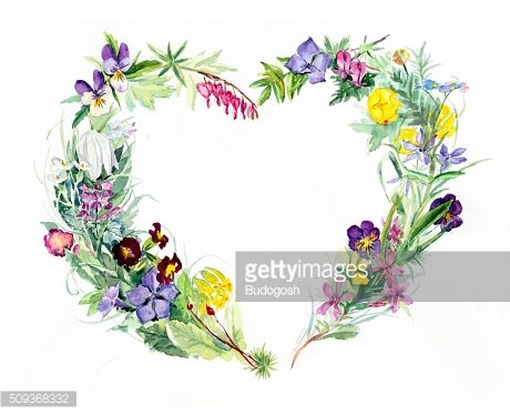 Heart frame from flowers. Spring time.