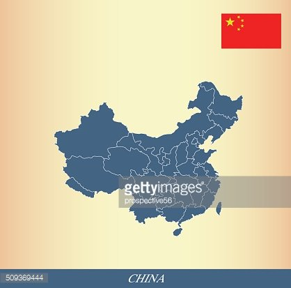 China map outline vector and China flag vector outline
