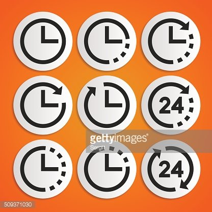 Clocks and time vector icons