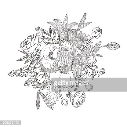 Linear bouquet of flowers. Black on white