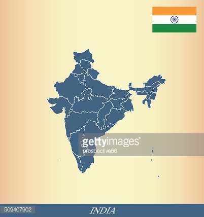 India map outline vector and India flag vector outline
