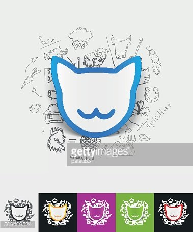 cat paper sticker with hand drawn elements