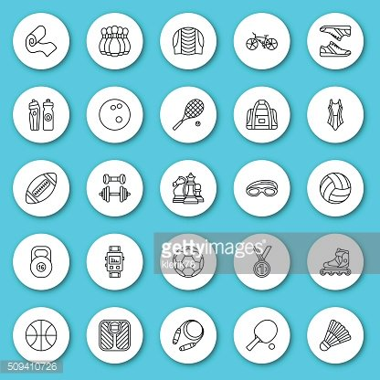 Set of line icon. Sport, fitness and recreation equipment