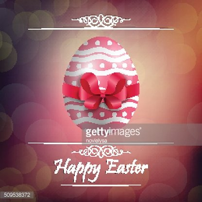 Easter egg background with red ribbon