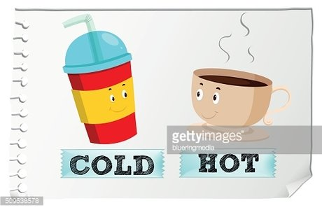 Opposite adjectives with cold and hot